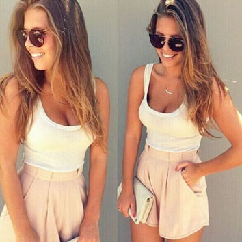 U-shape Collar Vest Pleated Shorts Two Pieces Set