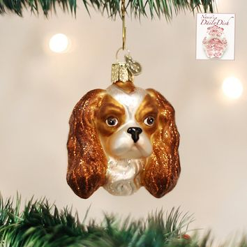 Staffordshire King Cavalier Spaniel Dog Head Glass Christmas Ornament Hand Painted Mouth Blown