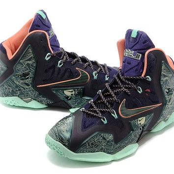 [Free Shipping ] Nike LeBron James 11 P.S Elite  Green / Purple  Print Basketball Sneaker