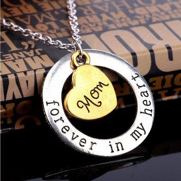 Mothers Day Gift Dad Son Mom Necklace Love Forever Heart Golden Necklace Pandent For Women Man Freindship Jewelry Collier Femme
