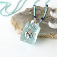 Raw Aquamarine Stone Necklace, Ice Age Inspired Jewelry with Cute Elephant Charm