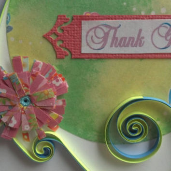 Paper Quilled Thank You Card, Butterflies and Flowers -  paper quilling card, paper quilled card, paper quilling thank you card, quilling