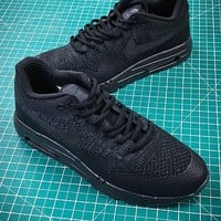 Nike Air Max 1 Ultra Flyknit Og Triple Black Sport Running Shoes - Best Online Sale
