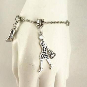 Silver Toned Bracelet Lady with Bag and Shoe Charms by toppytoppy