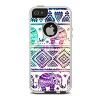 The Tie-Dyed Aztec Elephant Pattern Apple iPhone 5-5s Otterbox Commuter Case Skin Set
