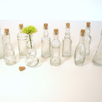 "Decorative Clear Glass Bottles with Corks, 5"" tall (Set of 10) - Small bottles that are perfect for spices, bath salts,  vases, and more"