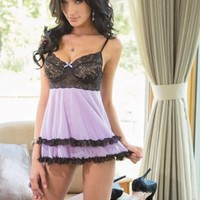 Lilac Black Scalloped Stretch Lace Mesh Layered Babydoll Set @ Amiclubwear Intimates Clothing online store:Lingerie,Corset,Bustier,Women's Intimates,Sexy Intimate,Corset Intimates,intimates underwear,sheer intimates,silk intimates,intimates bras,holiday u