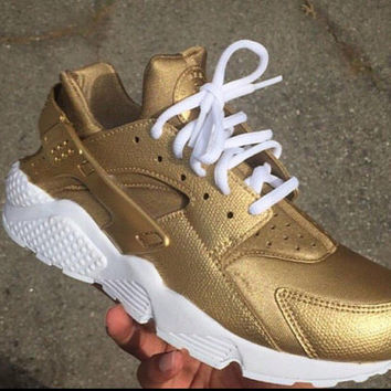 Antique Gold Nike Air Huarache custom.