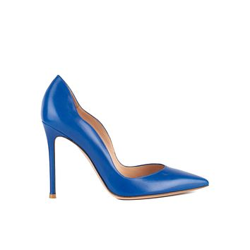 Gianvito Rossi Womens 105 Electric Blue Wave Leather Pumps