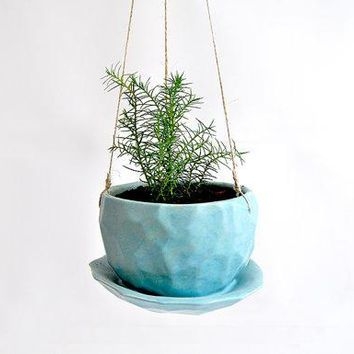 Blue Faceted Ceramic Hanging Planter With Drainage Plate. Succulent Hanging Planter. Cactus Hanging Planter Air Plant Planter.