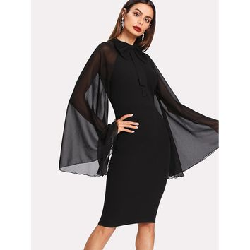 Bow Tie Neck Exaggerate Mesh Raglan Sleeve Pencil Dress