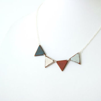 Small Wooden Bunting Necklace - Hand-painted in Nautical Colors - MADE TO ORDER