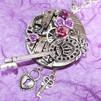 Steampunk Necklace  Crown Key Rose PINSTRIPE by TimeInFantasy