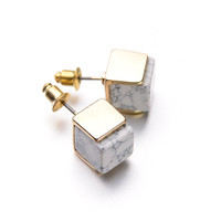 2015 New Personalised Hotselling 18K Gold Plated Geometric White Marbled Faux Stone Stud Earrings for Women