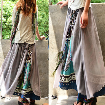 20% OFF SALE - Nepalese sari maxi skirt (Q1106)