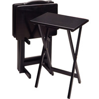 Five Foldable Rectangular Black Contemporary TV Table Set by Winsome Woods