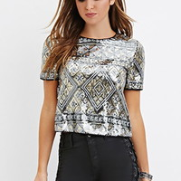 Sequined Diamond-Pattern Top