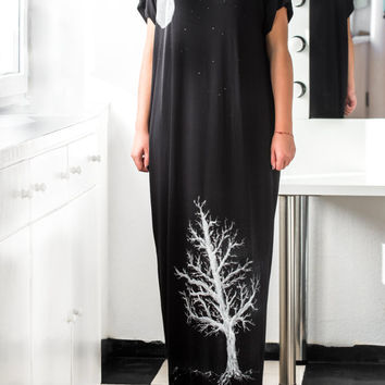 Black Maxi Dress, Caftan, Hand painted dress, Plus size dress, Long dress, Kaftan , Woman dress, Dress with pockets