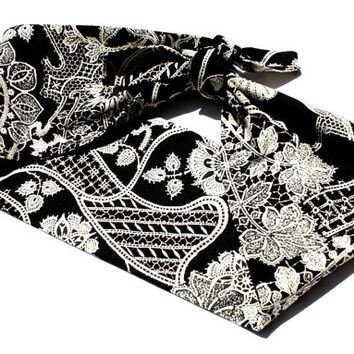 Vintage Inspired Head Scarf, Bandanna Style, Black with Lace