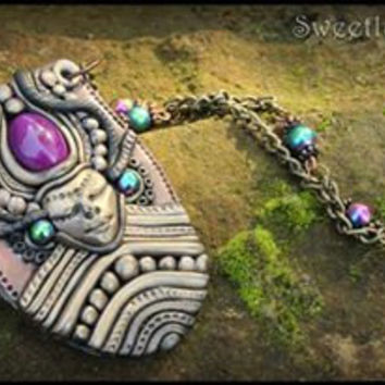 Galactic fairy girl clay necklace pendant goddess bronze psy hippie gipsy tribal cabochon glass bead summer unique