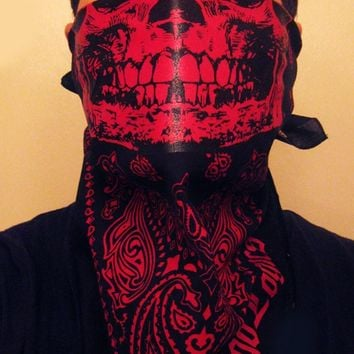 Red and Black Skull Paisley Face Mask  Bandana Cholo