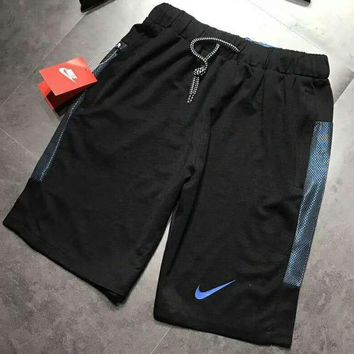NIKE 2018 New Men's Cotton High Elastic Running Shorts F-ZDL-STPFYF BLACK/BLUE