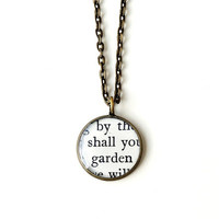Gardening Words Necklace, Upcycled Text from Book Resin Pendant, Words Typography Jewelry, Resin Jewelry