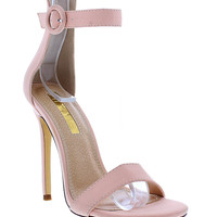 Liliana Tisha14 Open Peep Toe Stiletto High Heel Ankle Strap Pump Sandal Shoe Blush 10 B(M) US '