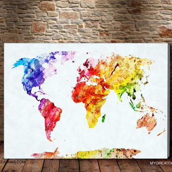 Watercolor World Map Canvas Prints | Wall Art Map Canvas | Large Map Canvas Painting - Colorful Ink Splashed World Map Canvas
