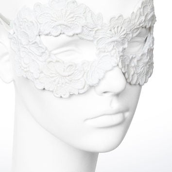 Off White Embroidery Masquerade Mask - Lace Applique Covered Venetian Style Prom Mask