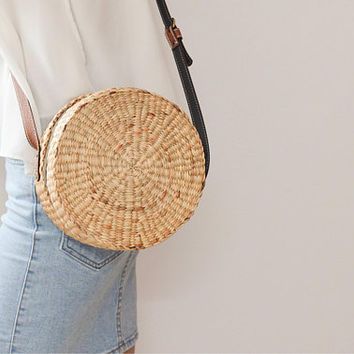 Straw bag Thai Weaving seagrass(water hyacinth) cross body bag handmade with brown leather strap / boho bag in roun