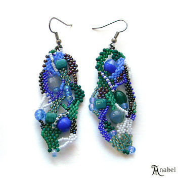 Freeform seed bead earrings, free form peyote, dangle, OOAK, Boho, beadwork jewelry, Green and Blue