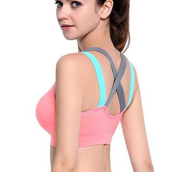 PEAPGC3 VEQKING Cross Strap Back Women Sports Bra,Professional Quick Dry Padded Shockproof Gym Fitness Running Yoga Sport Brassiere Tops