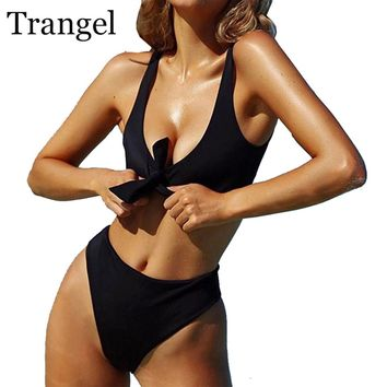 Trangel Bikini Set Sexy Black White Swimwear Women Padded Bathing Suit Push Up Swimsuit Low Waist Thong Bottom High Cut Biquini