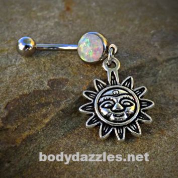 Tribal Sun Glitter Opal White Belly Button Navel Ring 14ga