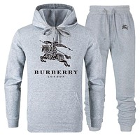 BURBERRY Autumn Winter Fashion Women Men Casual Top Sweater Pants Trousers Set Two-Piece Grey