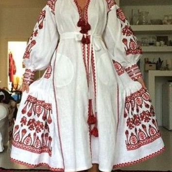 20% OFF Bohemian Linen Folk Embroidery midi Dress embroidered Boho Vyshyvanka by Vita Kin Style. XS-XXL. Model Fashion street style