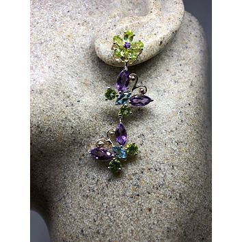 Vintage Handmade Sterling Silver genuine green peridot, amethyst, blue topaz Deco butterfly chandelier earrings
