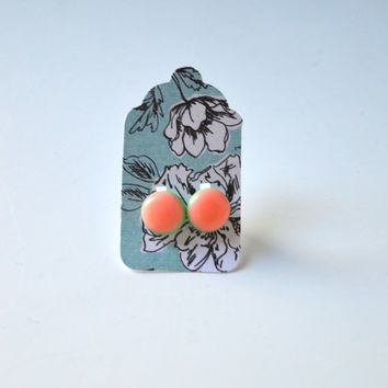 Stud Earrings - Peach Blush and Pastel Green Stud Earrings - Tiny Stud Earrings - Post Earrings - Colorful Earrings - Handmade Enamel Studs
