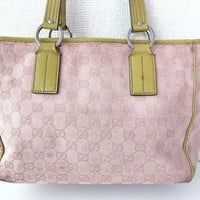 Authentic GUCCI GG Monogram Pink Canvas Tan Leather Shoulder Tote Hand Bag