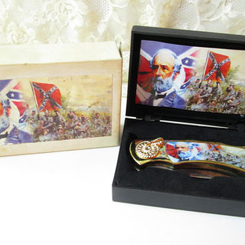 Rebel General Confederate Collectible Folding Knife Civil War NIB NOS in case Unused Red White Blue Flag
