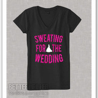 Sweating For The Wedding Pink Sparkle Womans Workout V-Neck Shirt