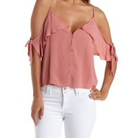 Dusty Rose Button-Up Cold Shoulder Tank Top by Charlotte Russe