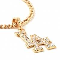 Doublju men's Gold LA DODGERS Diamonds Pendant Necklace (KMAJE0115)