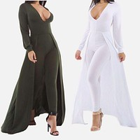 2016 Winter Rompers Womens Jumpsuit Elegant Sexy V Neck Bodycon Jumpsuit Long Pants Long Sleeve Green White Jumpsuits Playsuit
