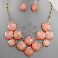 Octagon Bead Necklace Set