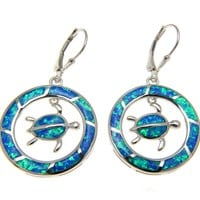 INLAY OPAL HAWAIIAN HONU TURTLE DANGLE CIRCLE LEVERBACK EARRINGS SILVER 925