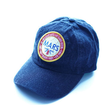 Mars Dad Hat, Military Embroidered Hat, 6 Panel Hat, Low Profile Hat, Denim Hat, Vintage Dad Hat, Military Baseball Hat