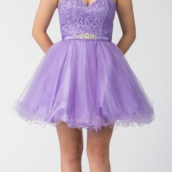 Starbox USA S6177 Lace Up Back Strapless Homecoming Dress Lilac