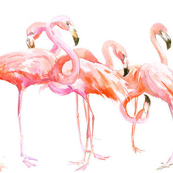 Two Flamingos, Original watercolor painting, 15 x 11 in, flamingo lover art, flamingo painting, pink flamingos